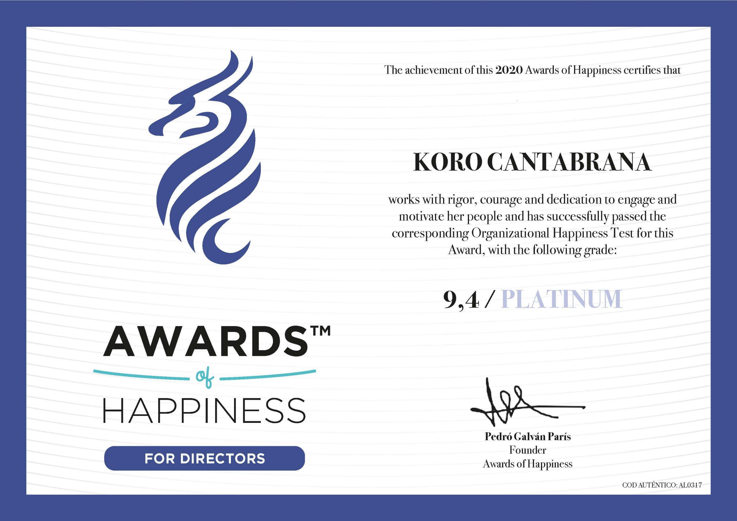Koro Cantabrana Awards of Happyness Director